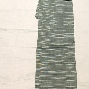 ポリ麻 ボーダー柄 ~不思議な柄博多織りの半幅帯~