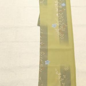 高性能ポリの絽 着物~桔梗、 くるり 麻のグラデーション半幅帯~