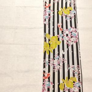 撫松庵 セオα浴衣 縞に金魚~菖蒲、紫陽花、百合、撫子、クレマチス~