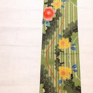 薔薇柄の注染浴衣~レース半幅帯と博多織りのストライプ柄~
