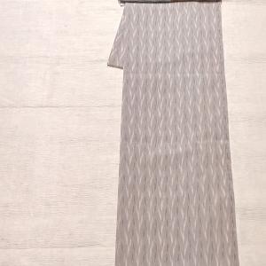 夏の正絹の着物 薄い紫色~市松柄の絽綴れ名古屋帯~