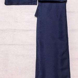 濃紺色のペイズリー柄のレースのお着物~エキゾチックな雰囲気の半幅帯~