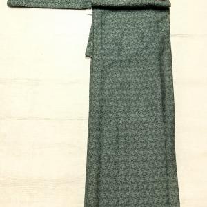 くすんだ緑青色のレース着物~ロマンチックな柄の博多織りの半幅帯~