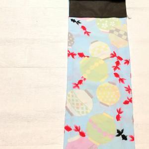 ふりふ 金魚と出目金と提灯柄のセオα浴衣~絽の芥子柄名古屋帯 桃柄の半幅帯~
