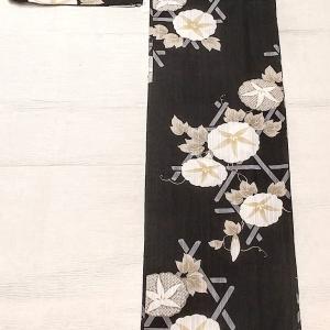 朝顔柄の浴衣 黒地に白~博多織りの半幅帯 リバーシブル~