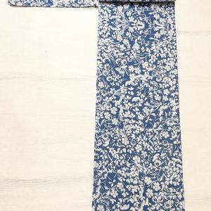 綿絽の浴衣 注染 秋草柄~八重山ミンサーの半幅帯~