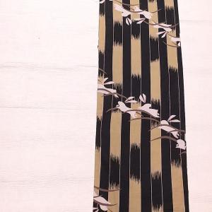 撫松庵 木綿の浴衣 うさぎ~博多織りの半幅帯 檸檬色と薄紫色~