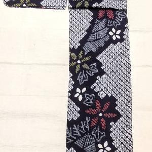 有松鳴海絞りの浴衣 お花柄~麻の半幅帯 緑色×赤色~