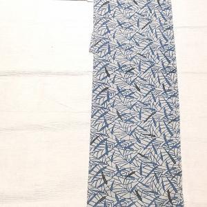 単衣の紬 藍染 山口秀荻作~本場黄八丈の半幅帯 市松柄~