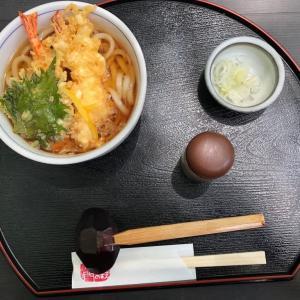 今日のお昼ご飯の天ぷらうどん