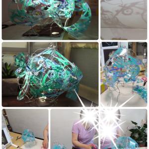 臨床美術の針金でつくる波のランプシェード試作しました
