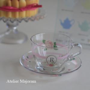 ポーセラーツ・オリジナルガラス作品・カップ&ソーサー
