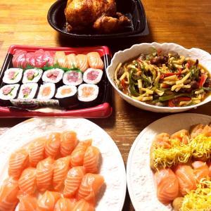 最近の晩御飯とコストコレポ(のりクロ、サーモン 寿司 ロティサリーチキン、さくらどり、大根)