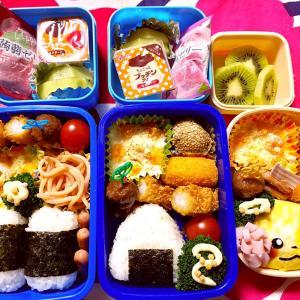 学童お弁当とコストコレポ(消しゴム、ブラックサンダー、ポテトチップス)