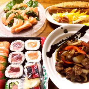 コストコデーの晩御飯、コストコレポ(ビーフリブフィンガー、まぐろ3種とサーモン寿司)