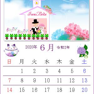 幸せ色の紫陽花「ワード絵カレンダー・2020年6月」作品