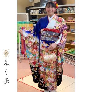 成人式振袖の素敵なコーディネート♫可愛い髪飾りも、お洒落です✨|神戸市北区 えり正