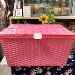 【今日から9月、今月もどうぞ宜しくお願いします! ~ピンクの編み衣類カゴ~】