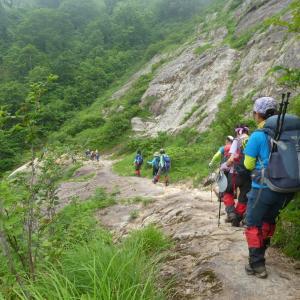 大きな鎧岩進む 鳴谷山 (1,596.5M)    登頂 編  part 2
