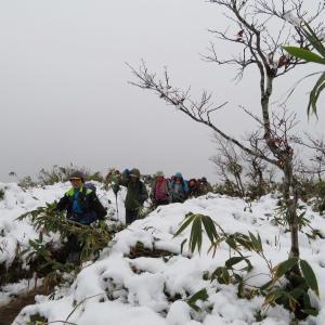 雪の山頂から下る 金剛堂山 (1,637.8M)    下山 編
