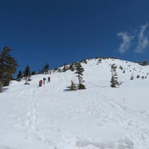 快晴の雪山 西穂丸山 (2,452M)     登頂 編