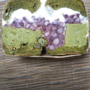 ベーキングガレージハリマヤ 抹茶ミルクベーグル抹茶バスク風チーズケーキと有機粒あんとマスカルポーネクリーム