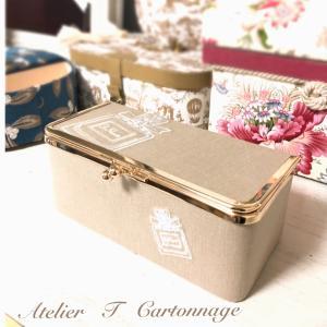 """レッスンにお越し下さった生徒さんのブログ☆がま口ボックスを素敵な""""道具箱""""に。"""