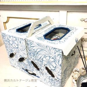【カルトナージュで大きな収納その1】スライド式のお裁縫箱&材料収納箱が完成し