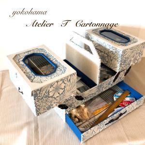 【カルトナージュで大きな収納 その2】スライド式のお裁縫箱&材料収納箱 実際の収納の様子