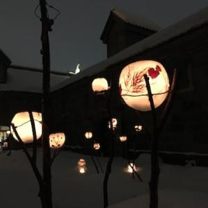 【小樽雪あかりの路22】運河プラザ(2月10日の様子)〜中庭に素敵にロウソクが灯ってました〜しりべしコトリアードのお試し(スープのみ)が美味しかった〜!