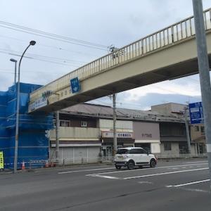 住吉神社前の国道5号線に架かる「住吉歩道橋」が工事中で渡れません