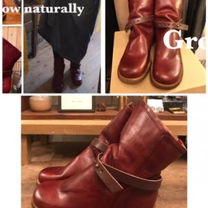 【明日14(木)は15:00までのオープン】今回入荷したGlow Naturallyのブーツのお色はBR・HD!!DBRを手染めでムラ感を出したアンティークなお色◎かなりおススメです!サイズは22㎝か