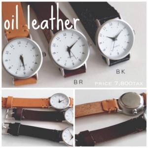 スタンプのようなレトロな文字が特徴の日本製の時計です!一つ一つ丁寧にほどこされたハンドステッチが温かみをだしています。