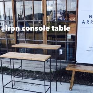 【7月残り休まず営業】シンプルでスッキリとしたラインが魅力のスリムタイプのテーブル2台入荷!高さの違いを活用して奥行のあるディスプレイに。植物や小物が映えるデザインで、並べても単品で使っても素敵です◎