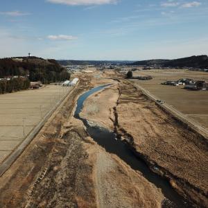 河川工事完了に伴うドローン撮影