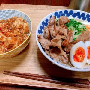 冷麺と麻婆丼(腹減りすぎは生理前だから)