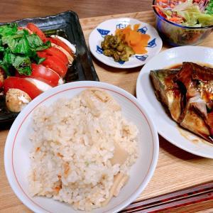 鯖の味噌煮と筍ごはん(マニキュアあった!)