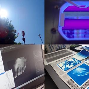 古典印画技法ブループリント講座 / 2日目 2種の光でサイアノ露光実験&デジネガプリント作成