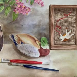 ◎刺繍絵の『毛糸ネコ』が水彩画になりました。