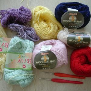 中細毛糸でブロックアフガンクロッシェを編む!