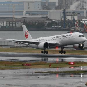2019年11月羽田遠征 その18 JAL A350-900 シルバーの着陸