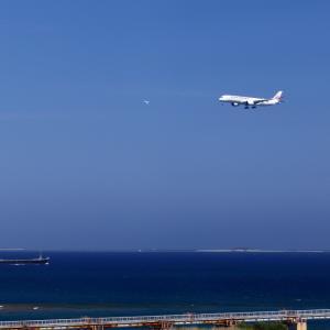 那覇空港 JAL A350-900 第2滑走路へのアプローチ