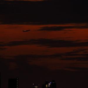 暗い夕焼けの中を進む