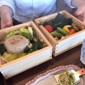 恋する豚研究所(8種類の野菜と恋する豚のスチームハンバーグ定食)とバラ園