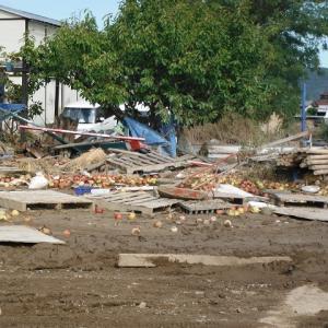 長野の台風19号の洪水被災地の様子