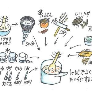 № 68 「ご飯炊き」 厚手の鍋で炊き込みご飯 2 具を入れて炊く