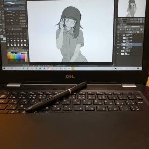 クリップスタジオ練習(ラフ絵)と末娘のイラスト。