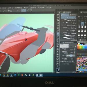 オートバイのイラスト練習2