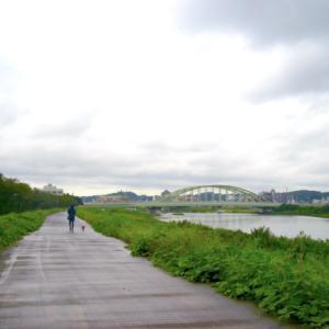 雨の合間の多摩川