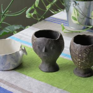 陶の顔鉢にハオルチアの子株